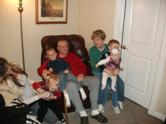 Dad and Mom with some of their great grand children.