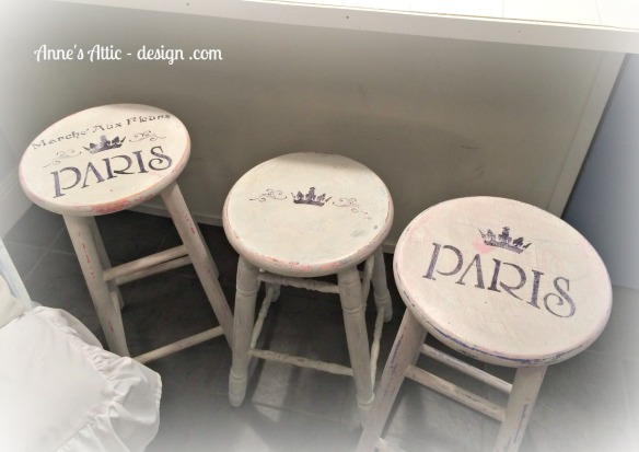 Added details to some chippy stools.