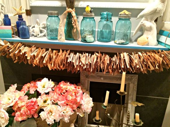 Etsy paper garland fireplace