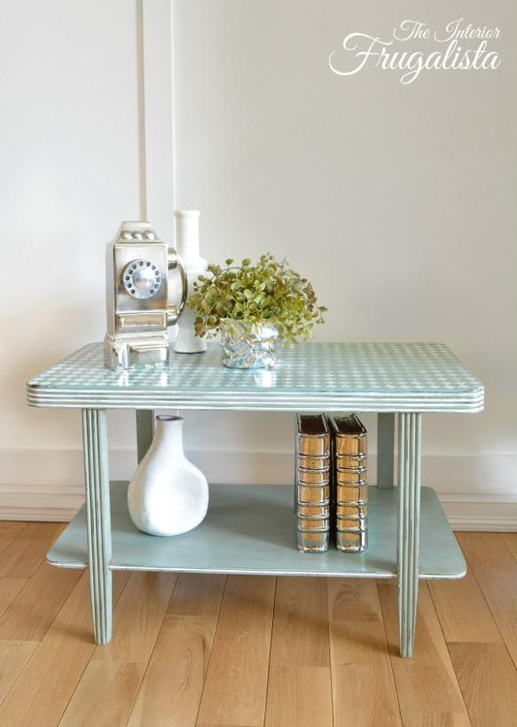 Distressed Harlequin Art Deco Side Table Makeover