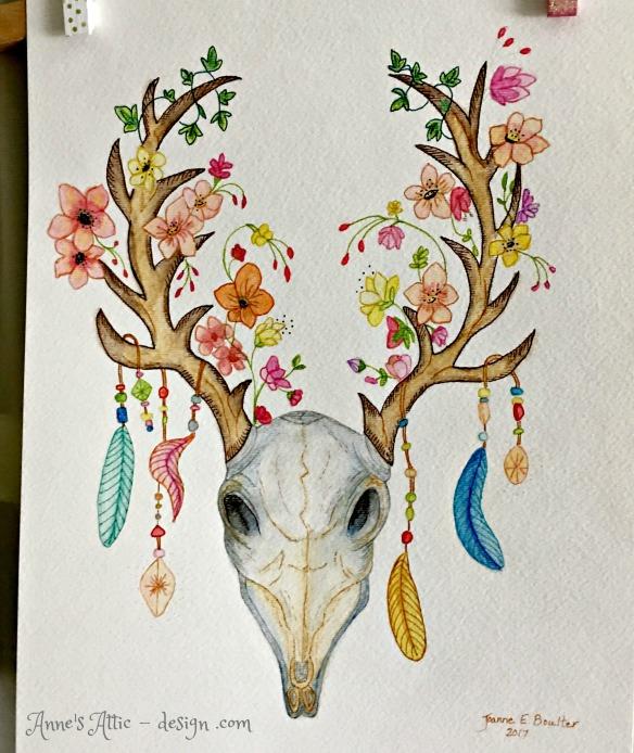 deer skull art
